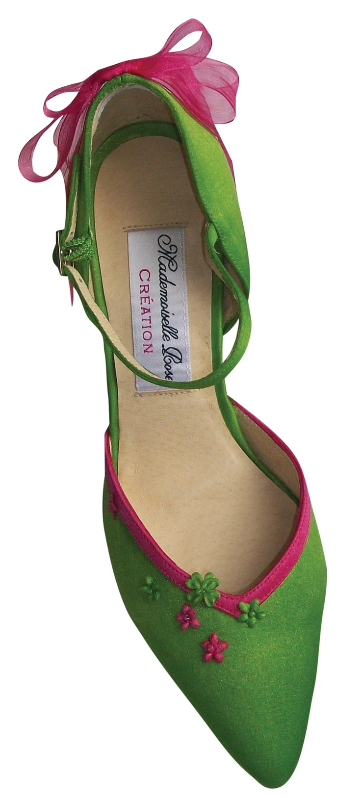 Chaussures vertes et  noeuds roses  chaussures de mariages mademoiselle Rose