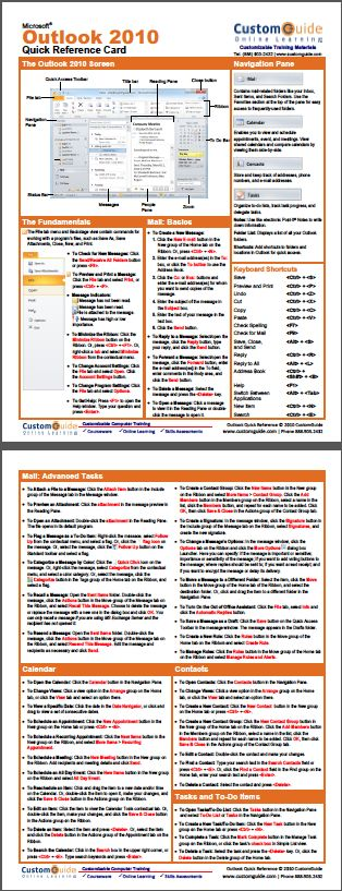 Free Outlook 2010 Cheat Sheet http://www.customguide.com/cheat_sheets/outlook-2010-cheat-sheet.pdf
