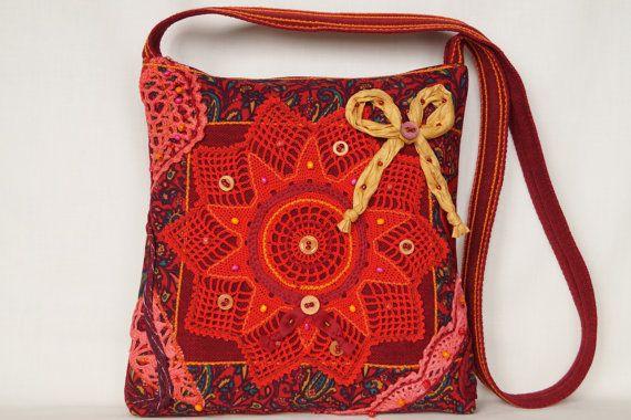 Red mandala bag crocheted lace bag medium size bag by bokrisztina