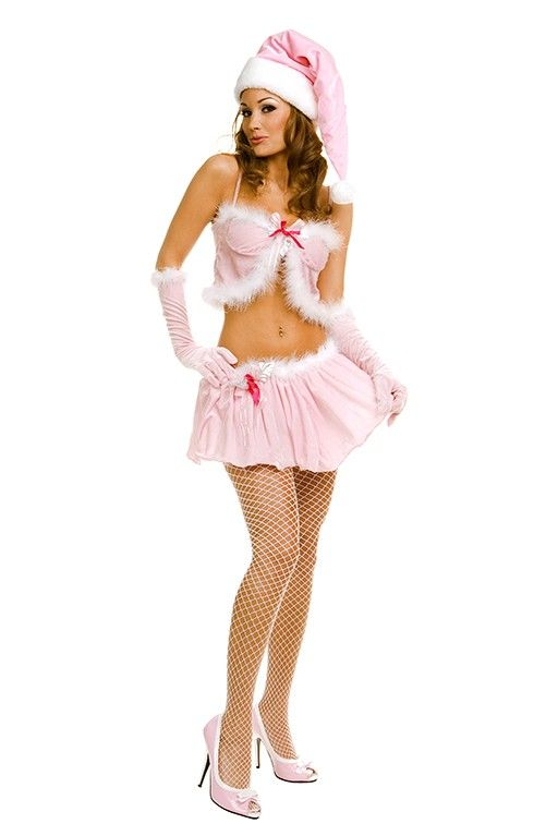 #MusicLegs #Holiday www.fifty-6.com ml70162 2 pc. Pink miss santa skirt set Includes: hat and gloves