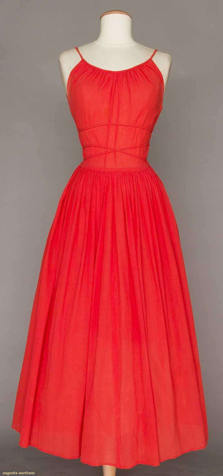 CLAIRE McCARDELL CORAL SUMMER DRESS, 1949  Lot: 95 April 20, 2016 NYC New York City