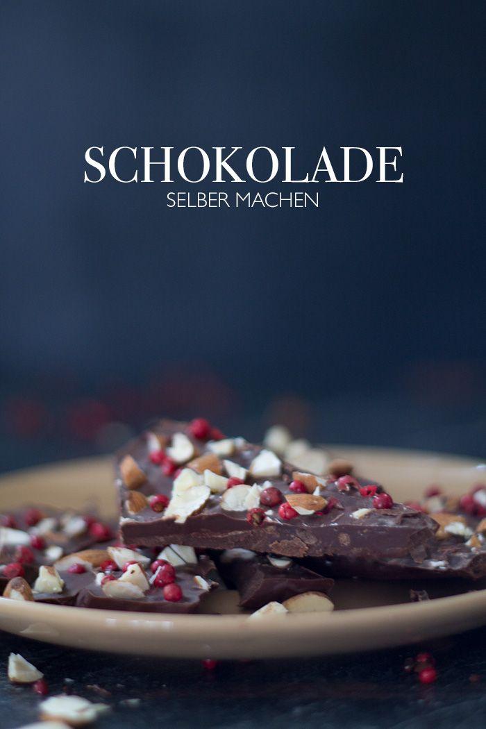 DIY Schokolade selber machen mit Mandeln und rotem Pfeffer