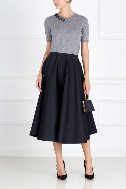 Однотонная юбка No.21 - Однотонная юбка-трапеция из коллекции итальянского…
