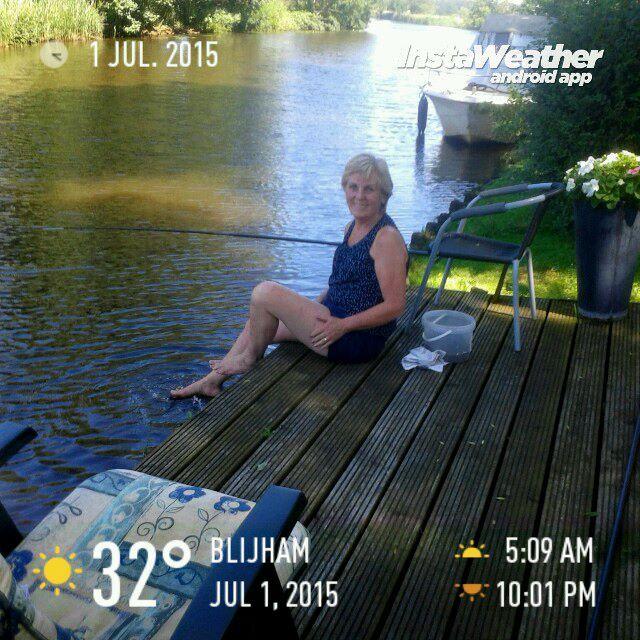 Ultiem vakantiegevoel #vasteplaats aan  waterkant van Westerwoldse Aa juli 2015 #verkoeling #hittegolf