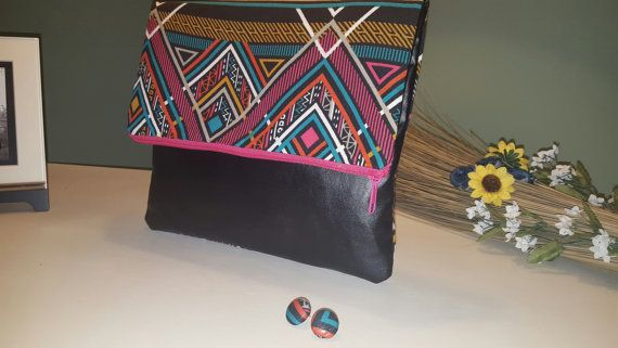 Black tribal colorful patterned print fold over clutch with matching post earrings  https://www.etsy.com/listing/246991655/fold-over-clutch-and-matching-earrings