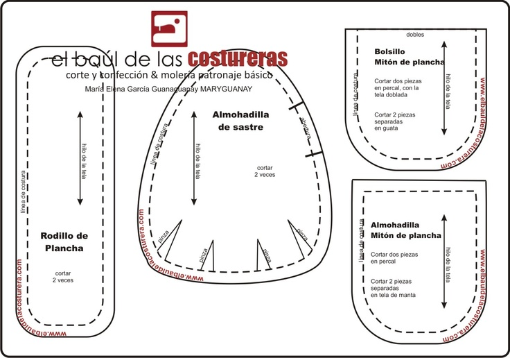 Pattern and Instructions for Pressing Tools: Seam Roll, Pressing Ham and Pressing Mitt. [IN SPANISH NEED TO TRANSLATE IT http://translate.google.com/ ]