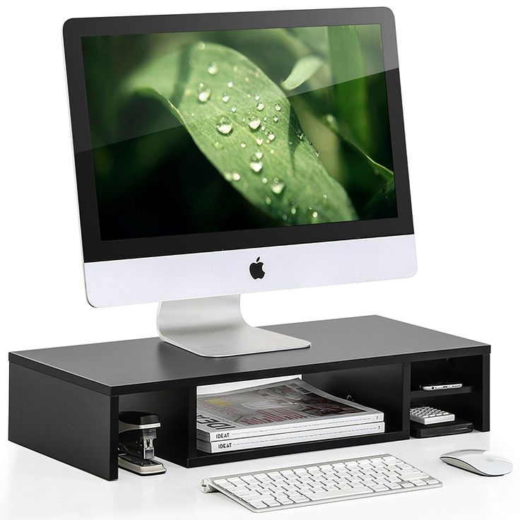 black wood computer monitor riser stand for office & workspace elegant decoration, drawer monitor riser,DIY Adjustable Eco-Friendly Monitor Stand Desktop Computer Monitor Riser
