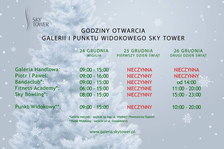 GODZINY OTWARCIA GALERII I PUNKTU WIDOKOWEGO SKY TOWER W ŚWIĘTA BOŻEGO NARODZENIA  http://galeria.skytower.pl/
