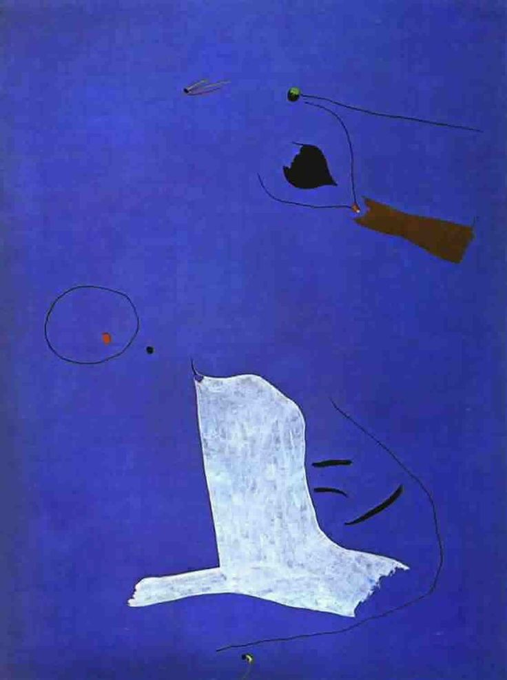 Joan Miro - Blue Painting example: white object is a stand-in for a missing character.