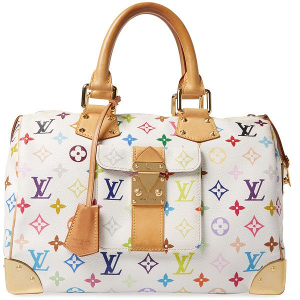 Louis Vuitton Women's Vintage Louis Vuitton x Takashi Murakami... ($1,995) ❤ liked on Polyvore featuring bags, white, vintage leather bags, multicolor bag, monogrammed bags, monogram leather bag and leather bags
