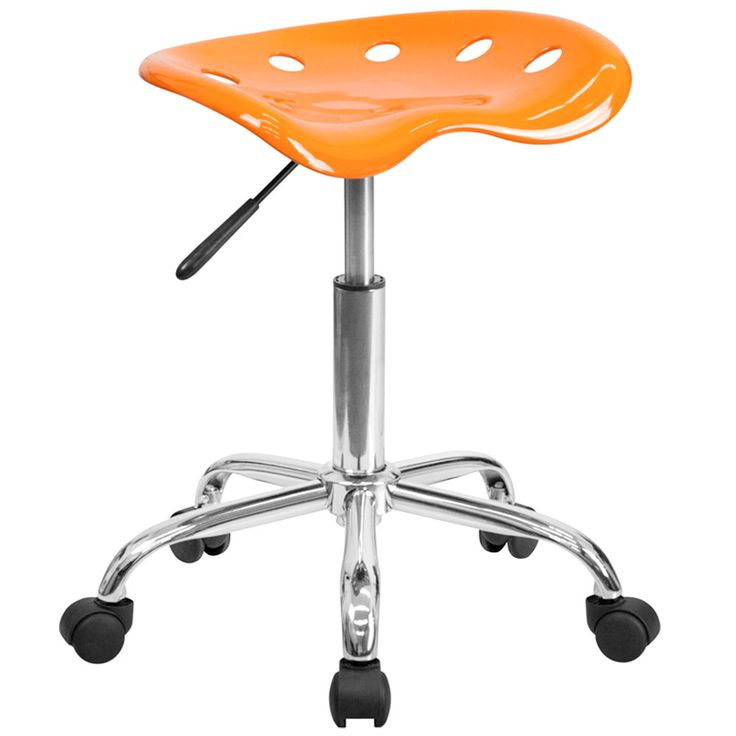 Orange Office Stool with Tractor Seat and Chrome Frame