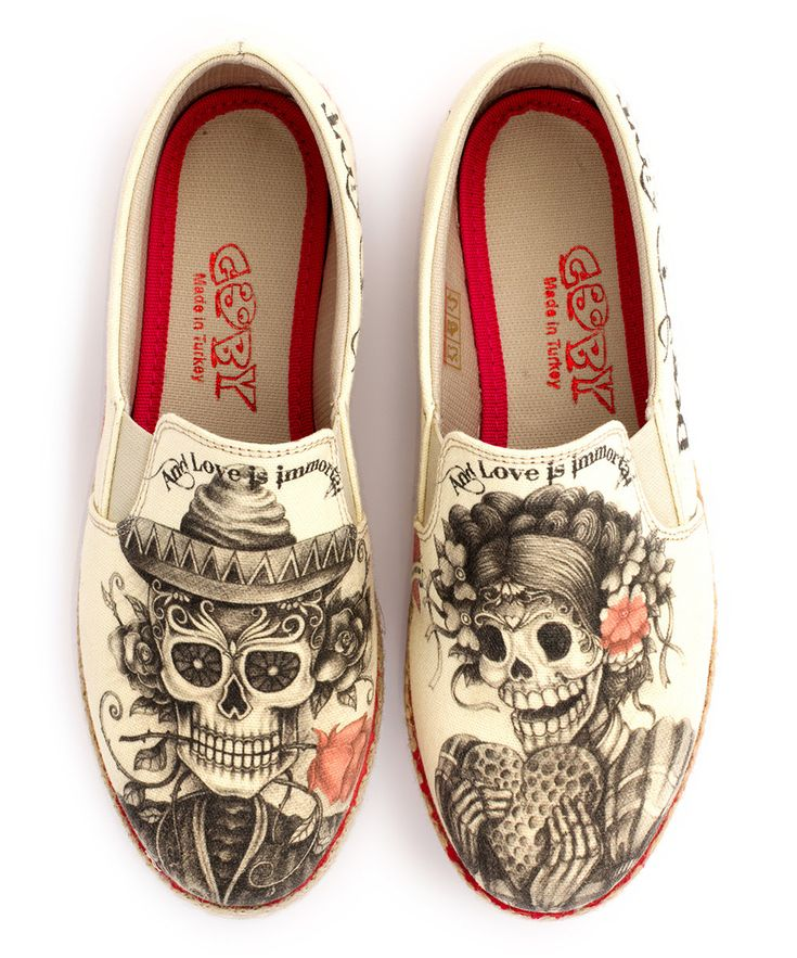 Sugar Skull Slip-On Shoe by Goby. http://www.zulily.com/p/beige-sugar-skull-slip-on-shoe-152761-30498299.html?tid=social_pin_iphone_shareviaicon_na_modal_0ac29d99c6e1158327ad3a7f4aa89d5f&pid=30498299&alt=alt&title=Beige+Sugar+Skull+Slip-On+Shoe&is_video=false
