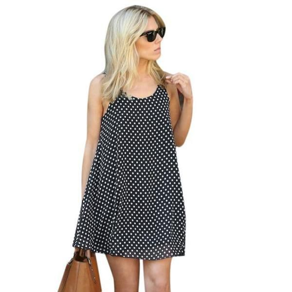 Polka Dot Sleeveless Summer Beach Dress -Polka Dotted All The Things Boutique #Polkadots #Fashion
