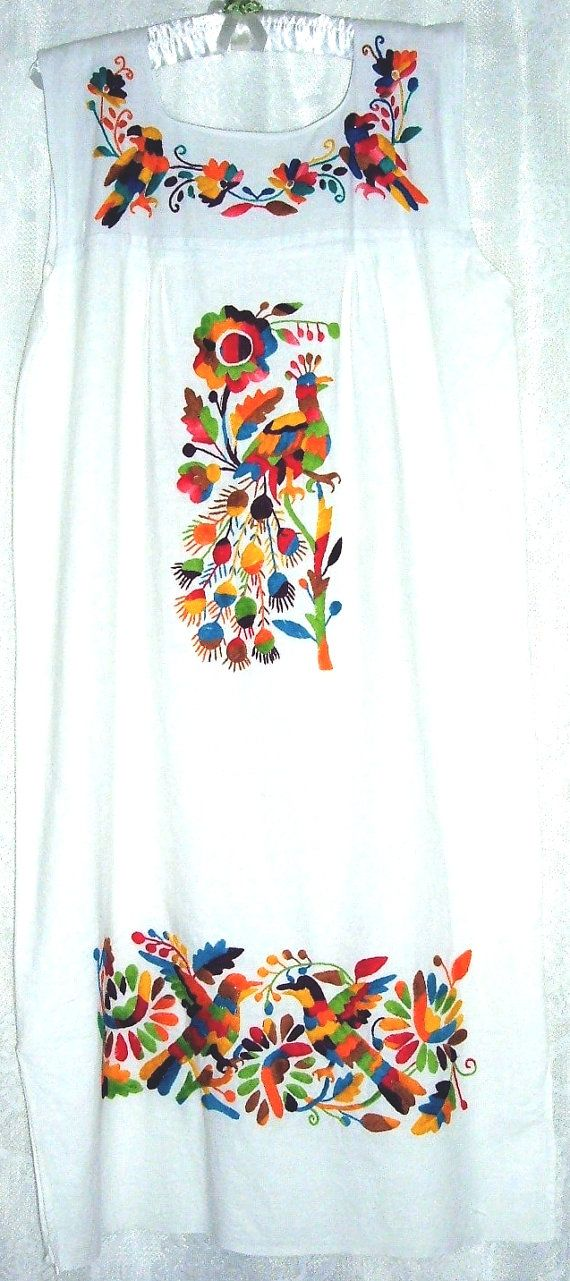Vintage Mexican Dress, Hand Embroidered Peacocks