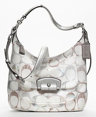 COACH KRISTIN EMBELLISHED COACH SIGNATURE HOBO