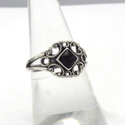 Silver and jet ring. Handmade in Galicia. Artcraft of The Way of Saint James. Tax free $26.90