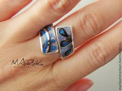Кольца ручной работы. Ярмарка Мастеров - ручная работа. Купить Кольцо Змейка Blu с перегородчатой эмалью. Handmade. Сиреневый цвет