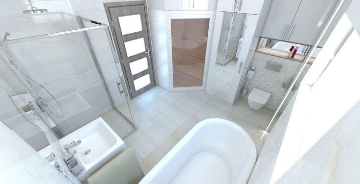 Kúpeľňa s obkladom v imitácii mramoru. Obklad Grespania Versailles Blanco