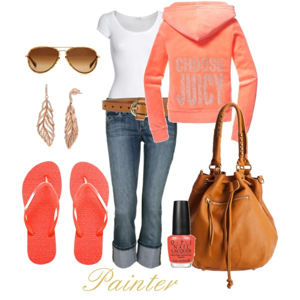 Peachy Spring outfit: Style, Peachy Spring, Colors, Summer Outfits, Flip Flops, Summer Night, Peaches, Spring Outfits, Casual Clothing