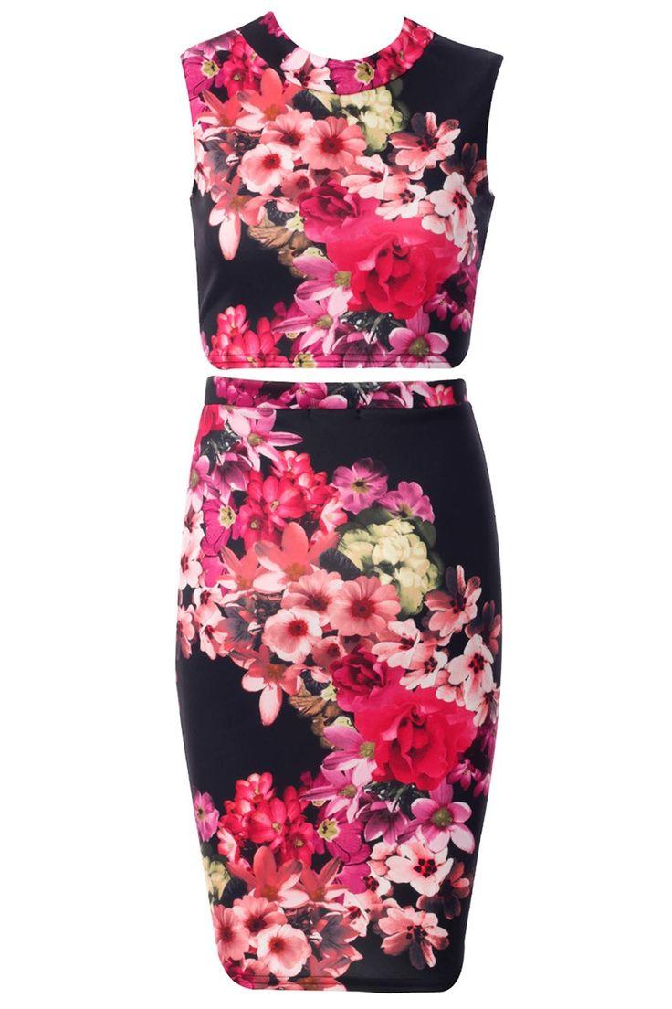 Komplet zestaw spódnica i bluzka top w kwiaty czarny