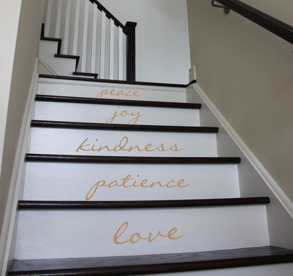 Something inspirational for staircasesFruit, Good Ideas, Dreams, Black And White, Cute Ideas, Basements Stairs, Staircases Wall Decals, Designdecor Ideas, Painting Staircases