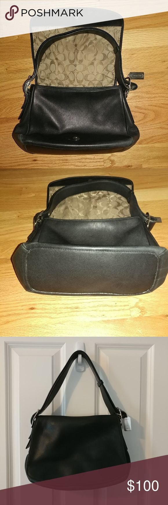 """Vintage Coach Leather bag H2P-9332 Black Vintage Coach Leather bag with adjustable shoulder strap. Magnetic snap on the front, 2 open pockets and one zipper pocket. Base is 10 X 4 Depth is 8"""". Ink mark on one side as seen on the pic. Coach Bags Shoulder Bags"""