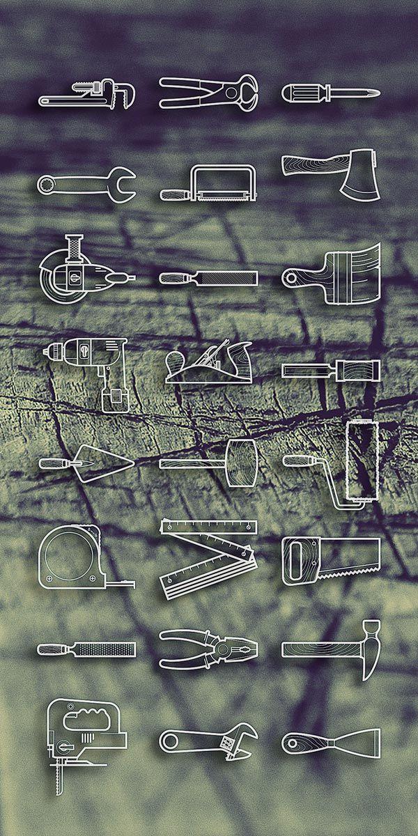 25 line icons pour les outils de bricolage