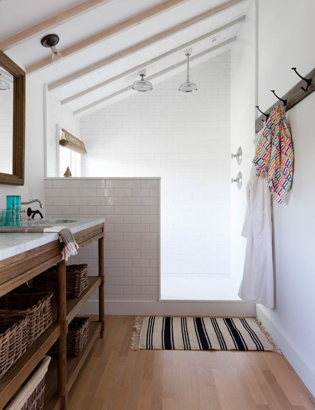 love this shower from July Lonny » Great space.: Open Shower, Idea, Shower Head, Masterbath, Subway Tile, Master Bath, Bathroom Shower, Half Wall, Attic Bathroom