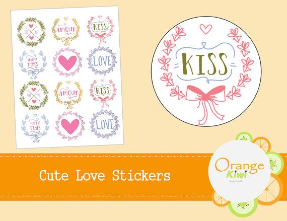 Cute Love Stickers  Wedding Stickers  by OrangeKiwiDesign on Etsy
