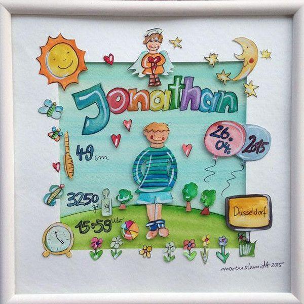 Gastgeschenke - Namensbild - Geschenk zur Geburt - personalisiert - ein Designerstück von marenschmidt bei DaWanda