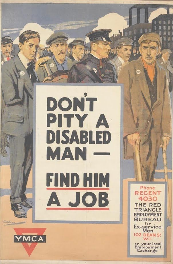 Vintage YMCA WWI poster: 'Don't pity a disabled man - find him a job'