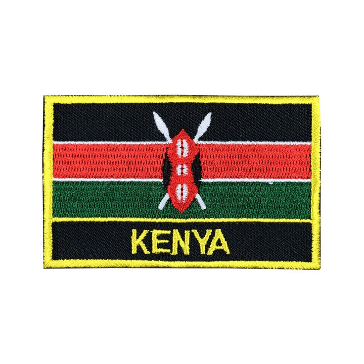 kenya Flag Patch Embroidered Patch Gold Border Iron On patch Sew on Patch Bag Patch meet you on Fleckenworld.com