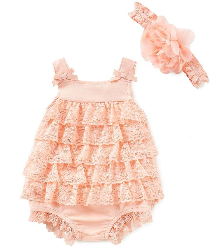 e23db007d37e1 Starting Out Baby Girls Newborn-9 Months Lace Ruffled Top, Diaper Cover, &  Headband Set #babygirl, #romper, #dillards, #promotion