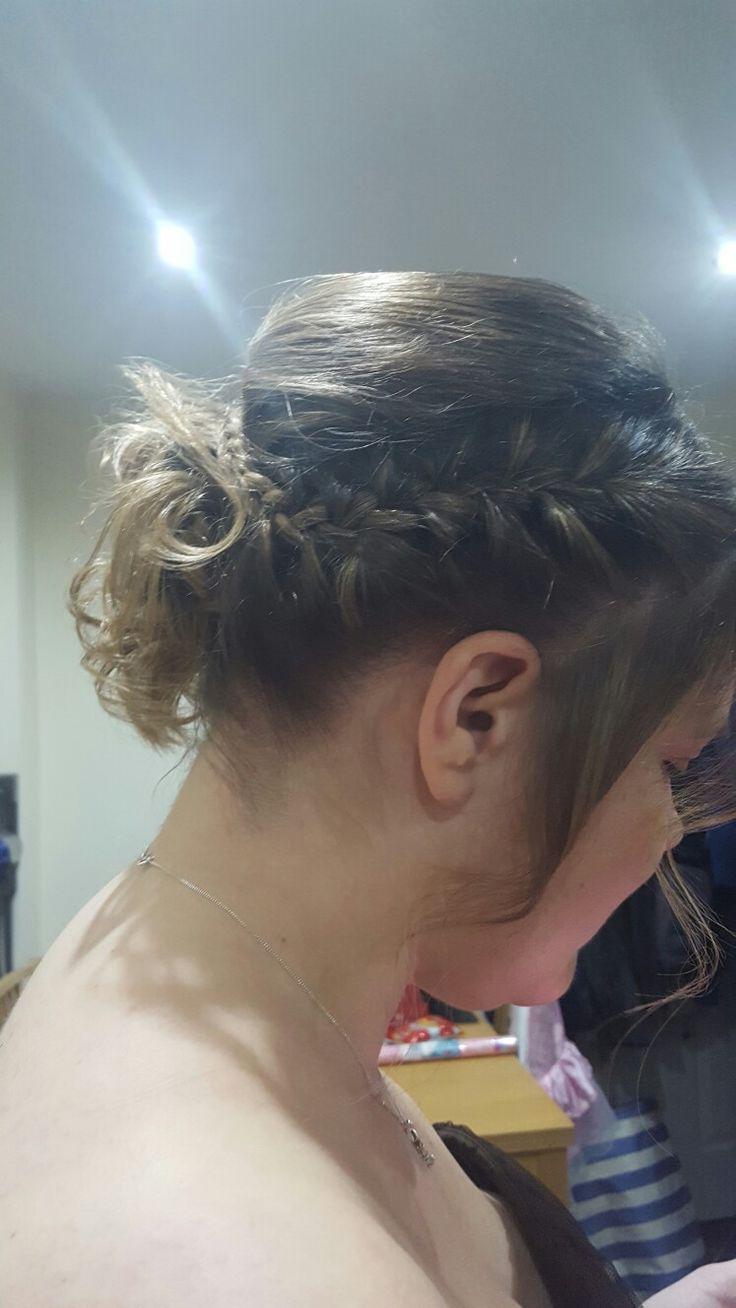 Beautiful plait curls low bun