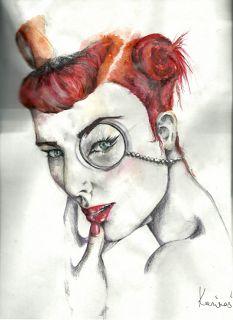 pin it up- watercolor pencils, paper
