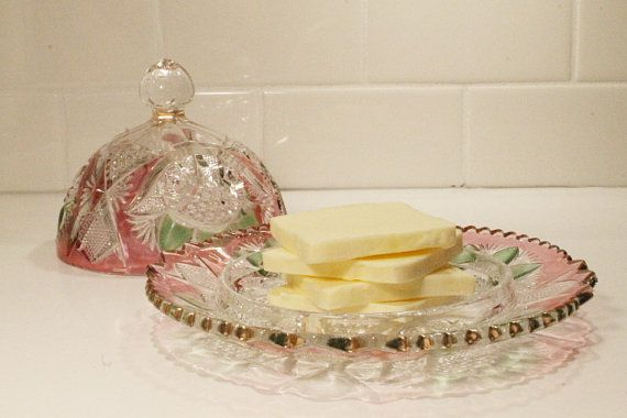 Crystal Butter Dish Pink and Green Crystal by ClockworkRummage, $20.00