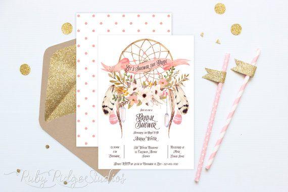 Printable Bridal Shower Invitation, Bohemian Watercolor Floral Peach Dreamcatcher, Hens Party, Kitchen Tea, DIY Printable Invitations