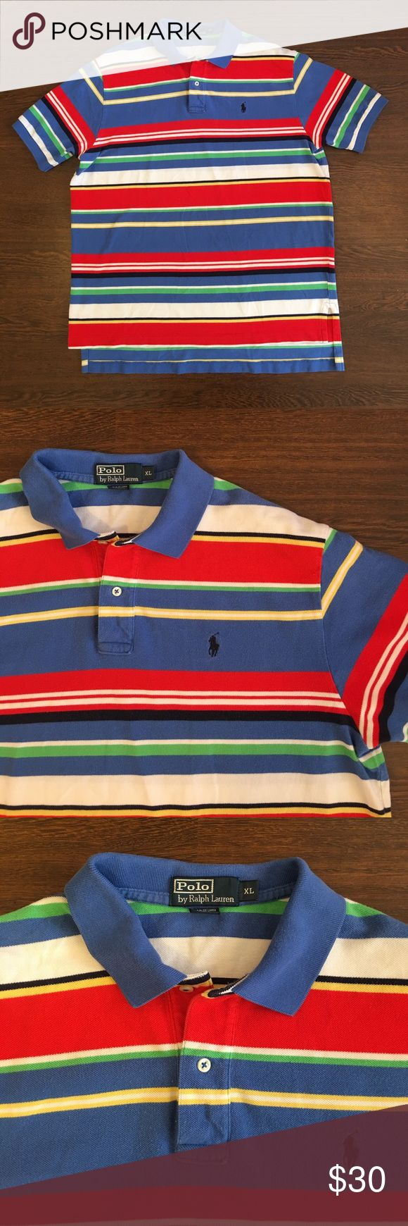 🔥SALE🔥 Polo By Ralph Lauren Striped Polo Shirt Polo By Ralph Lauren Multicolor Striped Polo Shirt. Men's Size XL. Lightly Worn. Overall Good Pre Owned Condition. Polo by Ralph Lauren Shirts Polos