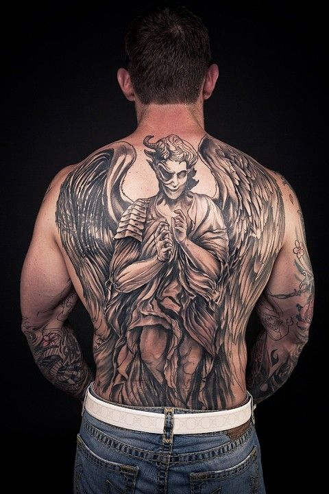 Angel Demon back piece cover up black and grey tattoo