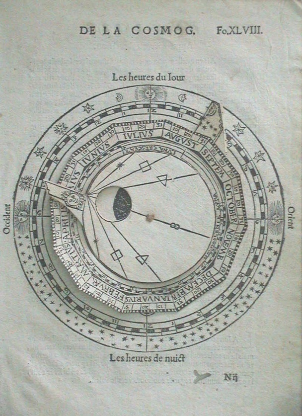 Instrument-maker Gemma Frisius devised a volvelle for inclusion in Peter Apianus' 1524, Cosmographia