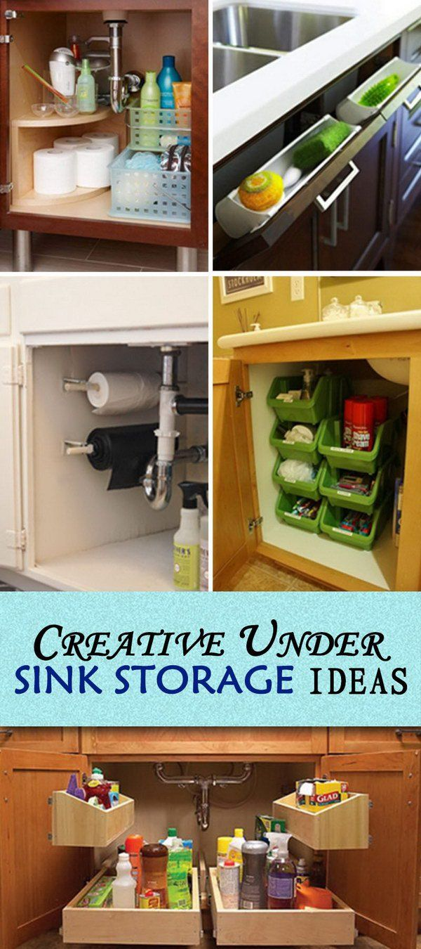 Creative Under Sink #Storage Ideas  Take a look at these creative under sink storage ideas, which turn wasted under sink space into #organized storage.