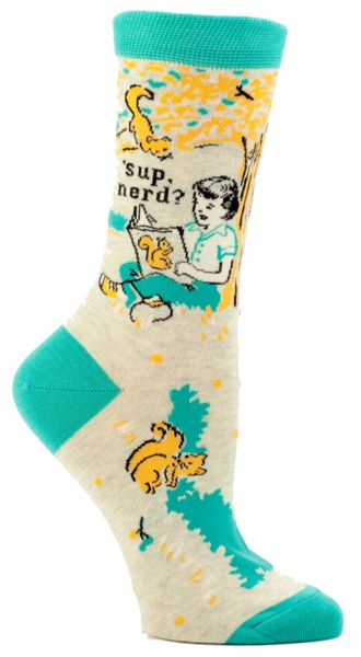 We're not saying that choosing to read a book by yourself under a tree instead of hanging out with your friends makes you a nerd.. but if the sock fits.