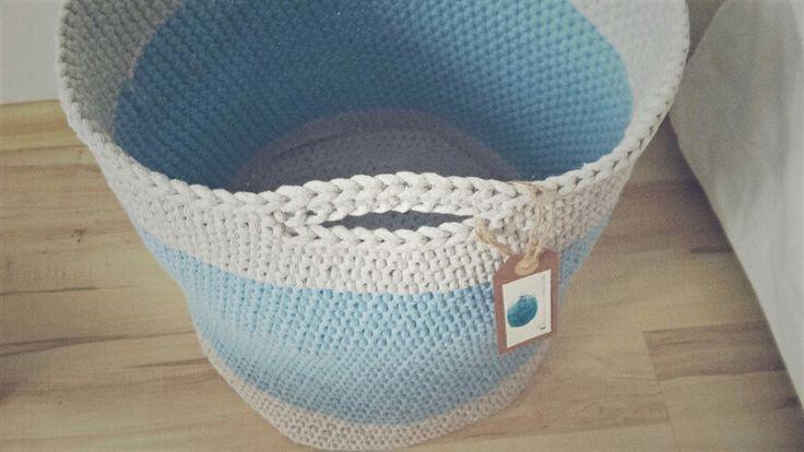 Handmade crochet big basket / duży kosz szydełkowy / kosz na zabawki ze sznurka bawelnianego