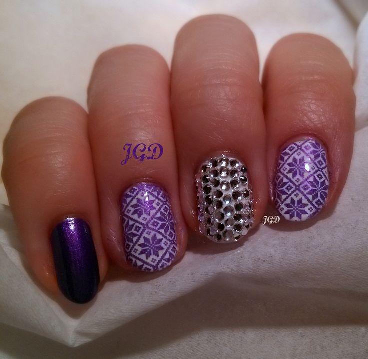Winter nail art / sweater stamping BP-L018 Born pretty plate. Zimowo sylwestrowe paznokcie. JGD