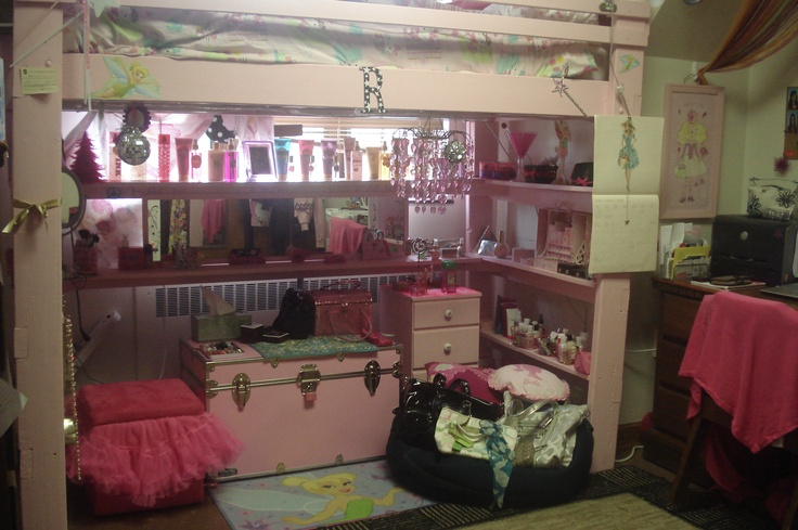 Girly dorm room loft – pink paint, shelves, and a tutu! No  ~ 211154_Dorm Room Girly Ideas