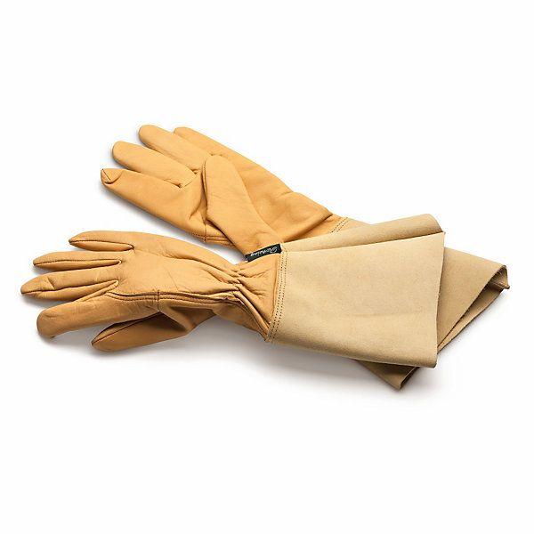 Dieser Handschuh hat extralange Stulpen, die beim Arbeiten in Gestrüpp, Rosen oder Brennesseln nicht nur... - Gartenhandschuh Leder lange Stulpe
