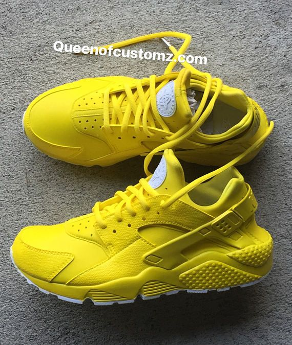 ad7387a70b3aa Sunshine Yellow Nike huaraches custom White Nike Huaraches (AUTHENTIC) are  used as the base