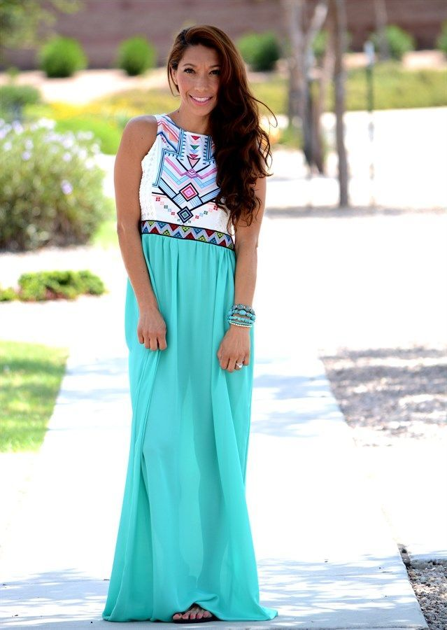 HEAD OVER HEELS... With this new #aztec #maxi #dress! With BRIGHT, VIBRANT colors you will definitely stand out from the crowd. Dress it up with a pair of wedges or make it more casual with a strappy sandal. This #dress is perfect for any occasion from a dinner date, to a casual walk in the park.