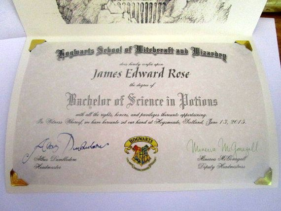 Wizarding School College Degree Diploma Personalized for a Witch or Wizard