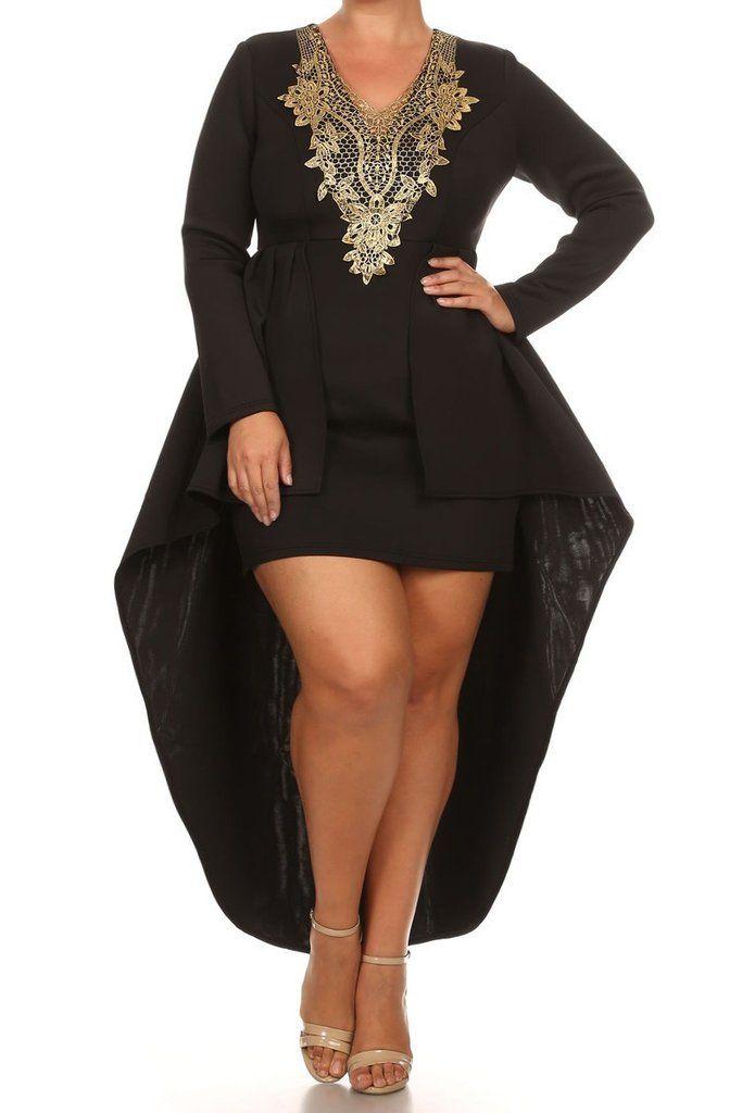 Plus Size Gold Queen Hi Lo  Dress (plus size) #plussizefashion #dress